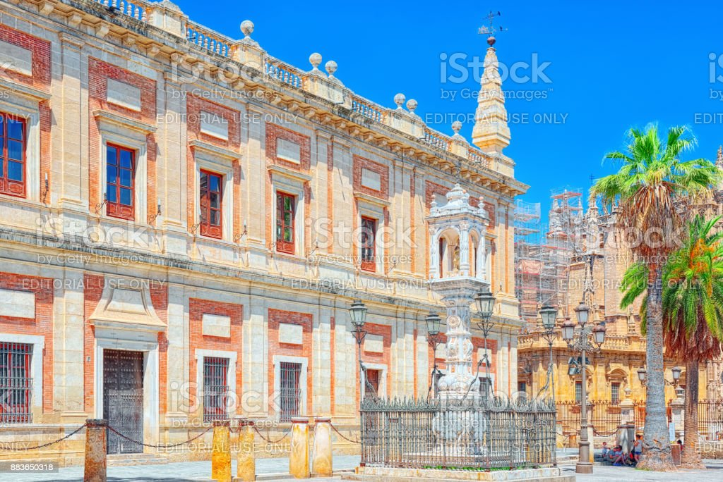 General Archive of the Indies (Archivo General de Indias),in the ancient merchants exchange of Seville, Spain. stock photo