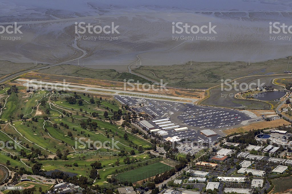 general aviation airport aerial view stock photo