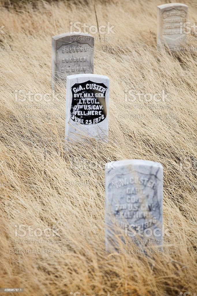 General Custer's Death Marker at Little Bighorn Battlefield Monument stock photo