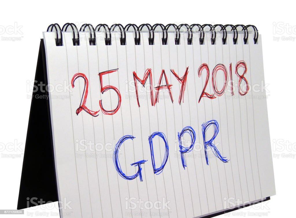 General Data Protection Regulation (GDPR) - 25 May 2018 stock photo