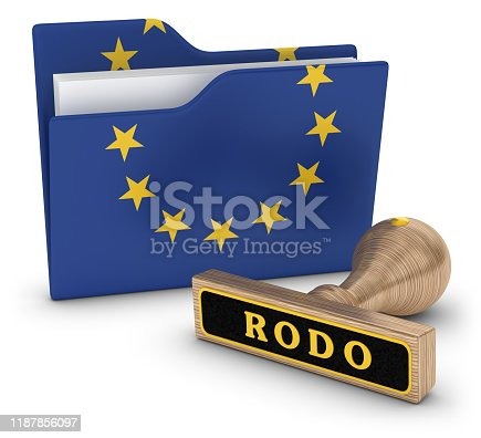 3d render. Folder and stamp isolated on white background.