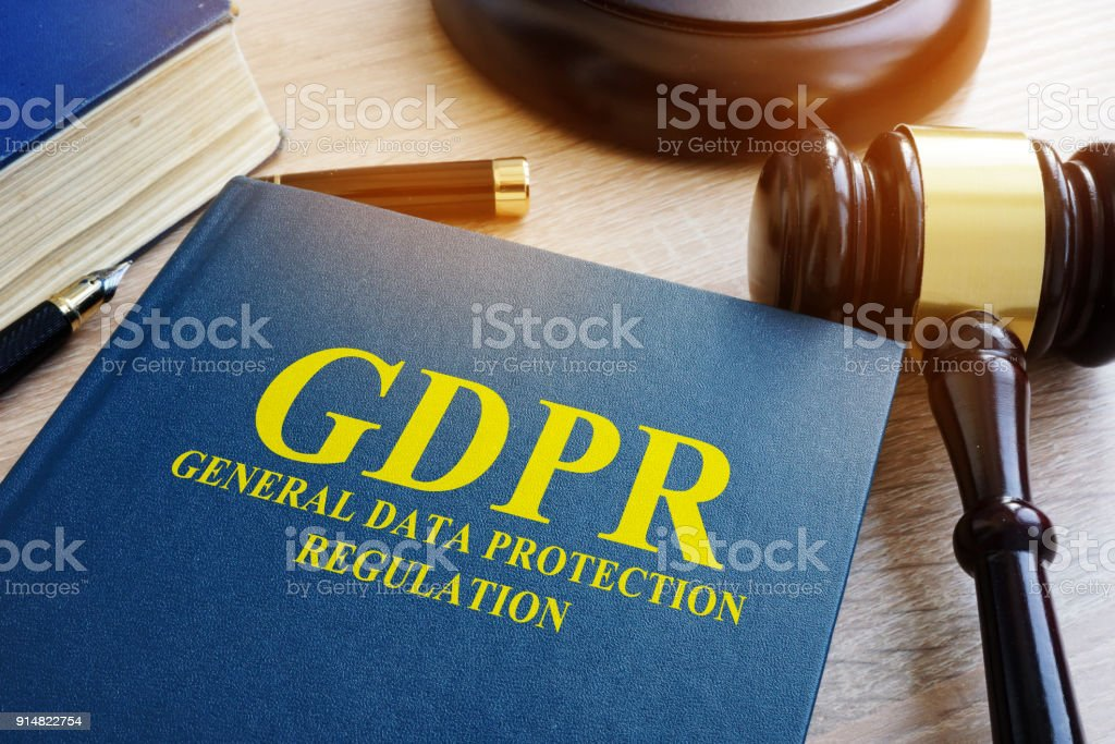 General Data Protection Regulation (GDPR) and gavel. - Royalty-free Business Stock Photo