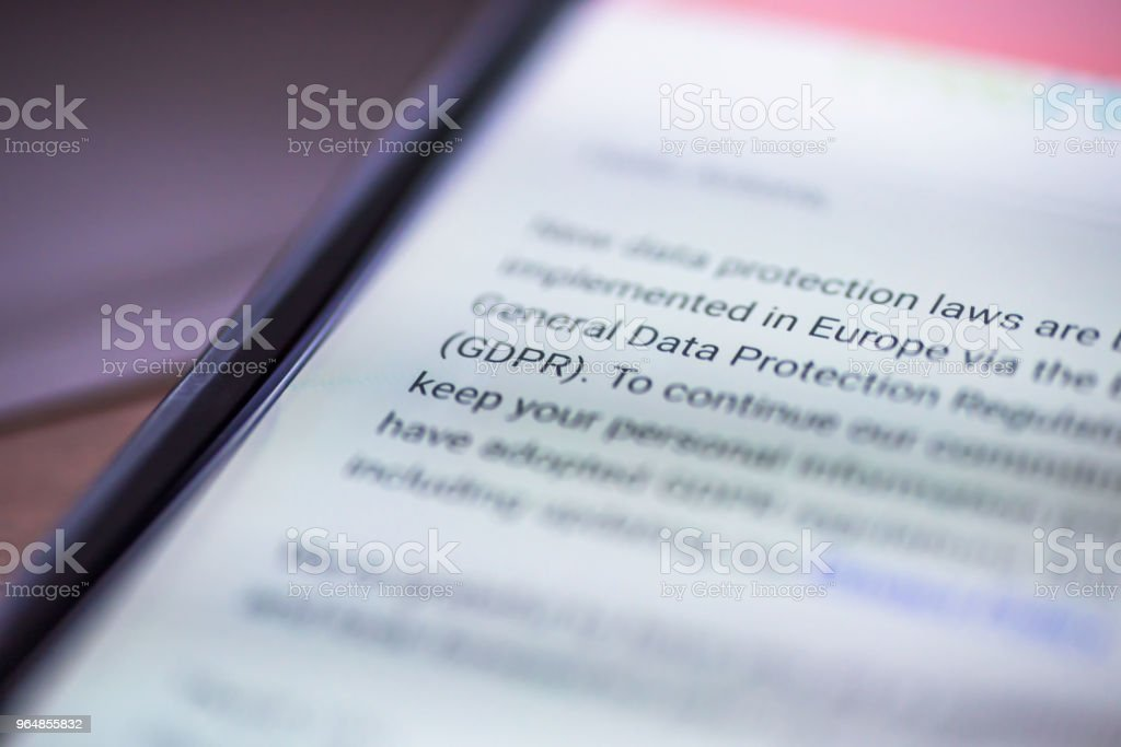 General Data Protection Regulation - closeup smartphone message with text GDPR royalty-free stock photo