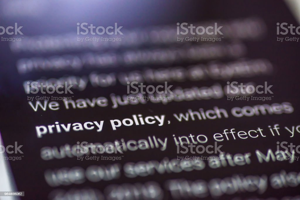 General Data Protection Regulation - closeup smartphone message with text Privacy Policy royalty-free stock photo