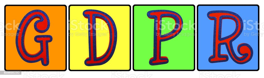 General Data Protection Regulation (GDPR) Colourful Letters stock photo