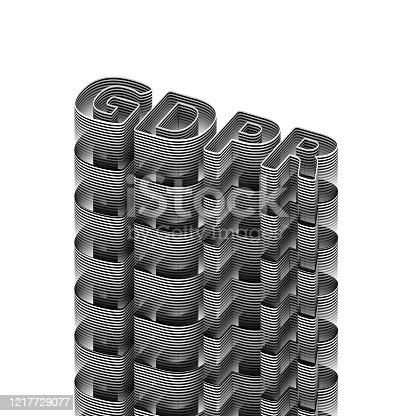 937370192 istock photo GDPR General Data Protection Regulation Concept 3D word in black and white stripes on white background, isolated. 3D rendering. Raster. 1217729077