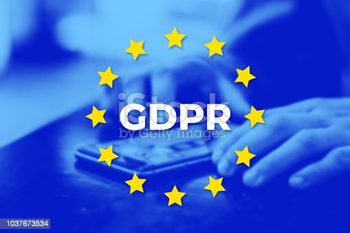 897726350 istock photo GDPR - General Data Protection Regulation. EU flag with blue photo 1037673534
