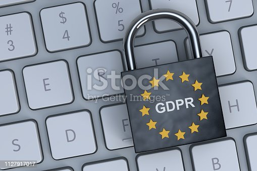 General data protection regulation GDPR logo on padlock with  blue color background. Privacy, data, identity, safe, secure.