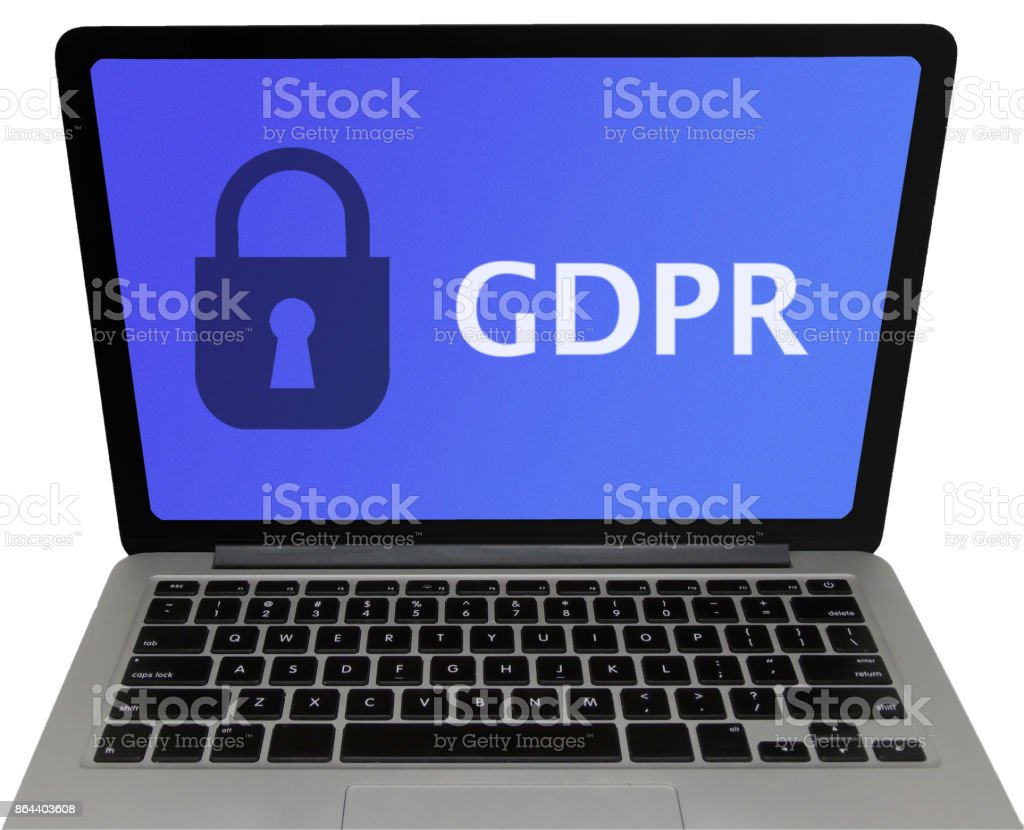 General Data Protection Regulation (GDPR) Laptop Screen, Isolated on White Background stock photo