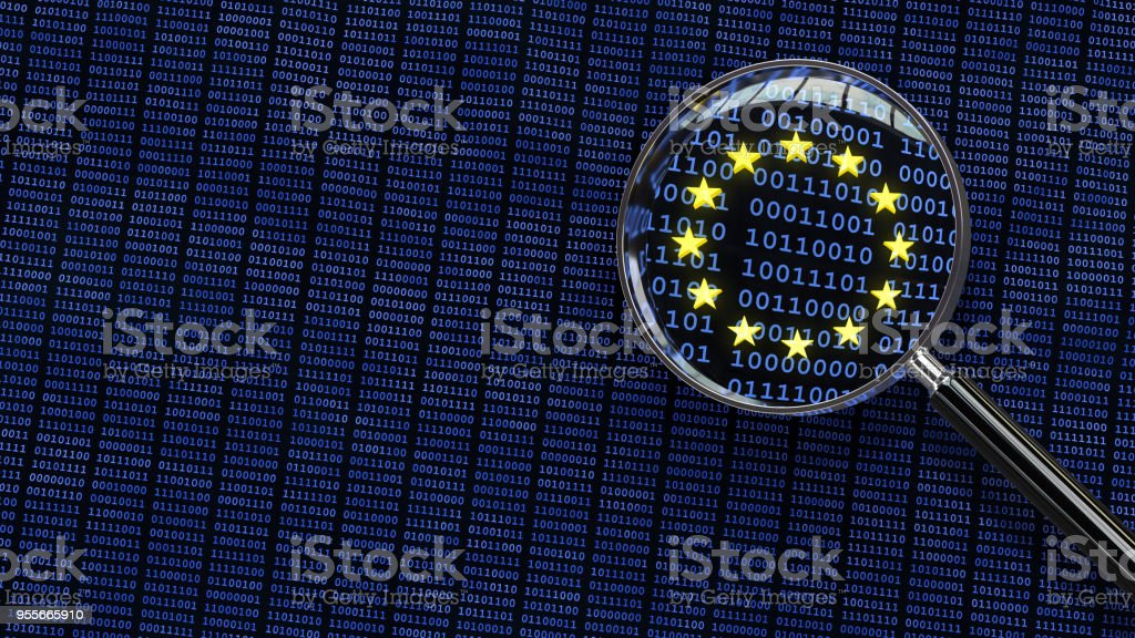 General Data Protection Regulation - Looking at GDPR data through magnifying glass royalty-free stock photo