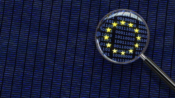general data protection regulation - looking at gdpr data through magnifying glass - bit binary stock pictures, royalty-free photos & images