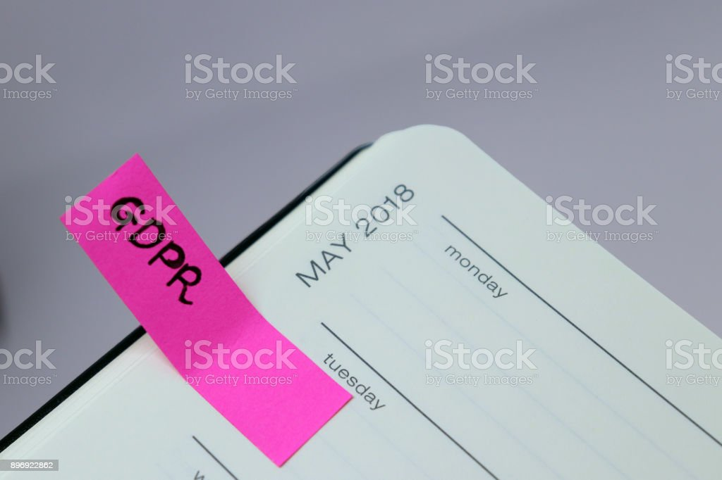 General Data Protection Regulation (GDPR) - May 2018 Diary Reminder royalty-free stock photo