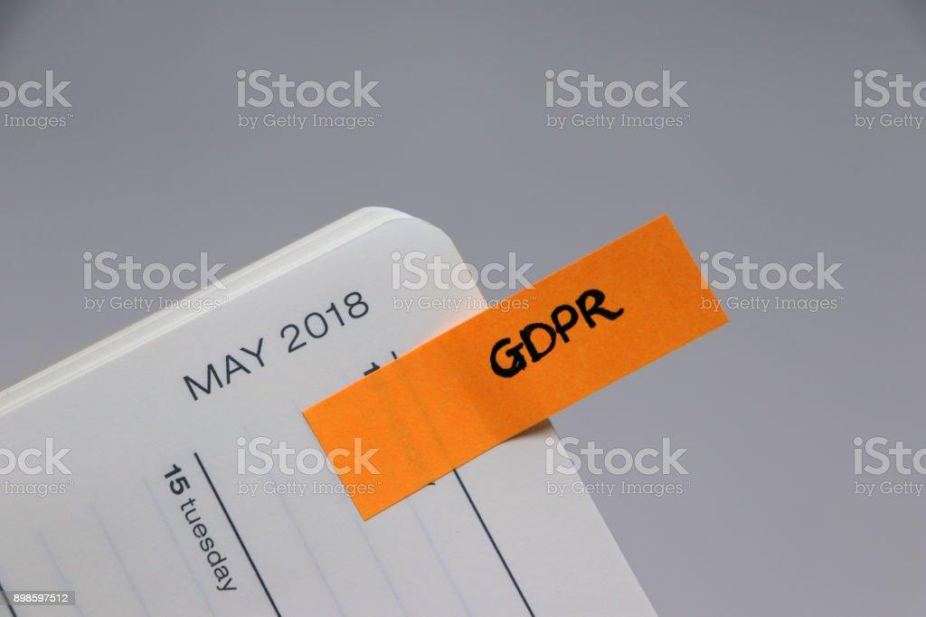 Regulación de la protección de datos (GDPR) - recordatorio diario de mayo de 2018 - foto de stock