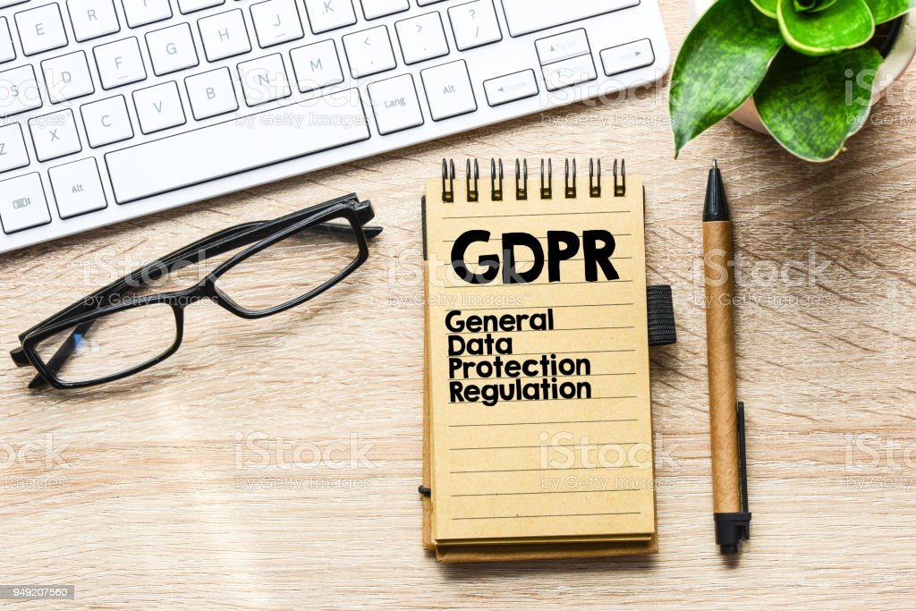 GDPR / General Data Protection Regulation text concept stock photo