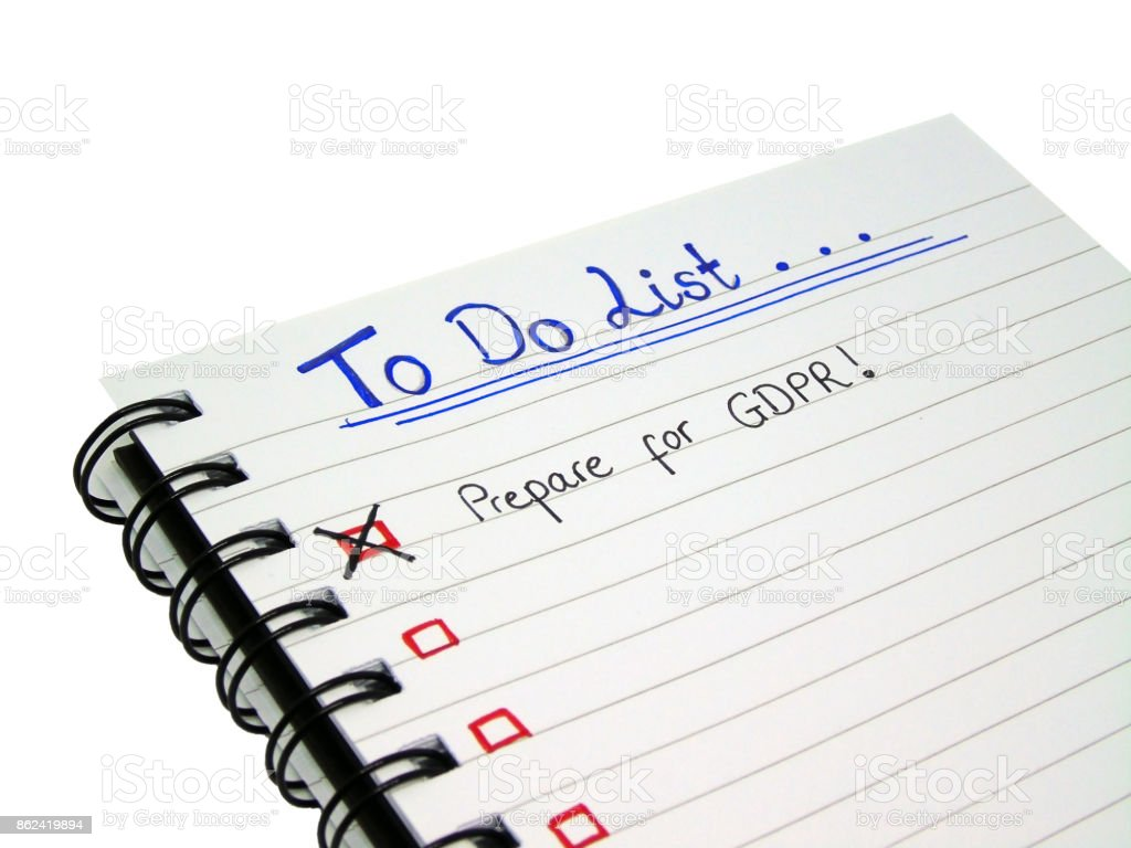 General Data Protection Regulation (GDPR) To Do List (Isolated on White Background with Clipping Path) stock photo