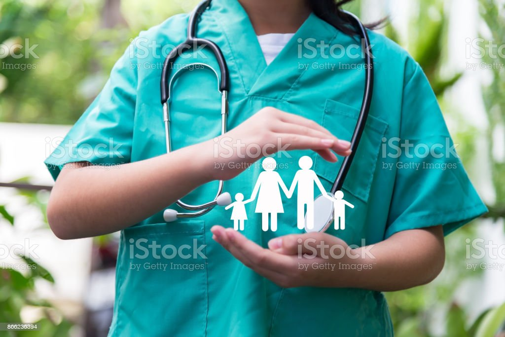 General Doctor care of family , medical health insurance concept. Concept of family health insurance.Horizontal composition. stock photo