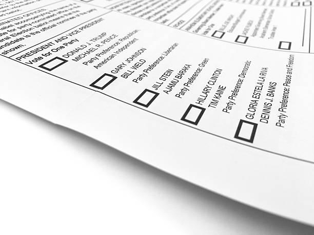 general election ballot form - donald trump us president стоковые фото и изображения