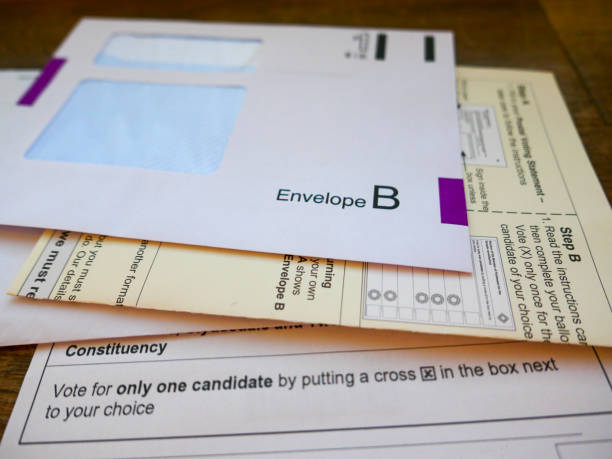 uk general election postal vote ballot papers - ballot stock pictures, royalty-free photos & images