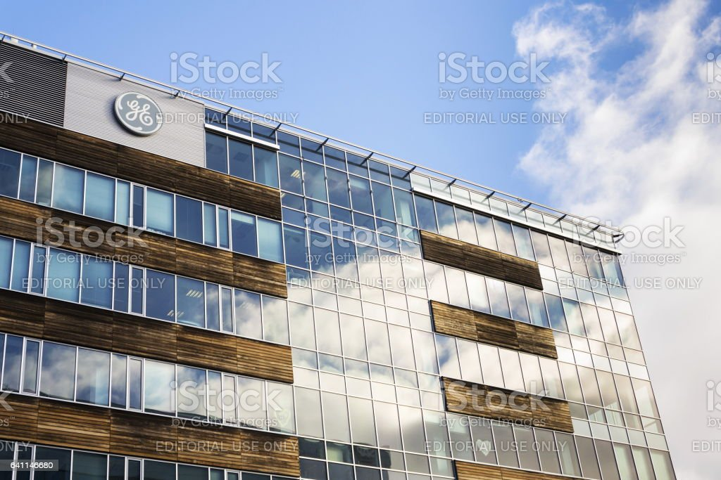 General Electric company logo on the headquarters building in Prague stock photo