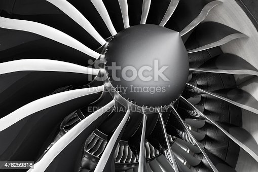 Zürich, Switzerland - May 26, 2014: Detail of fan blades and inlet guide vanes of a General Electric GEnx engine at Zurich Airport. The General Electric GEnx (General Electric Next-generation) is an advanced dual rotor, axial flow, high-bypass turbofan jet engine in production by GE Aviation for the Boeing 787 and 747-8.