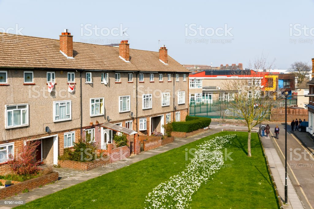 General English council terraced housing blocks stock photo