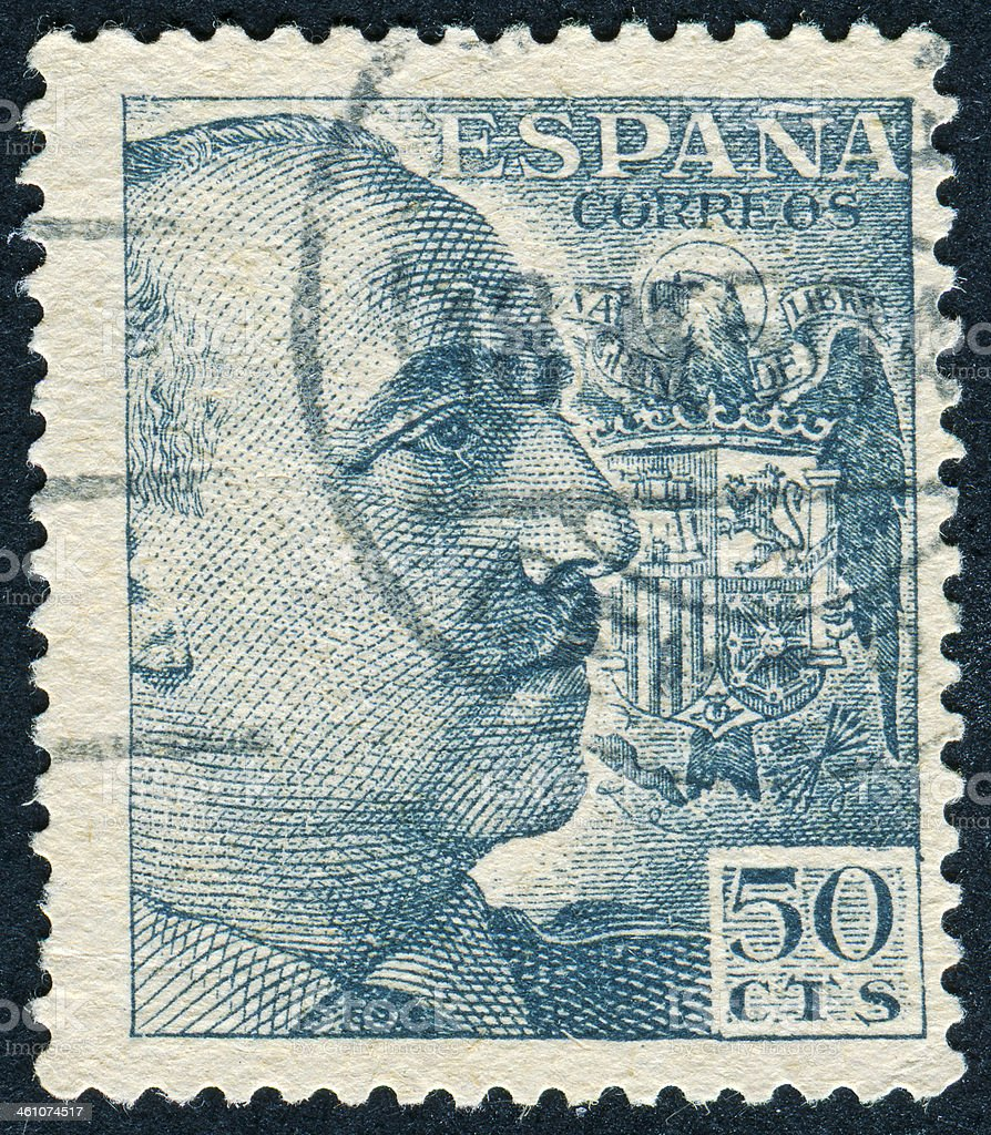 General Franco Stamp stock photo