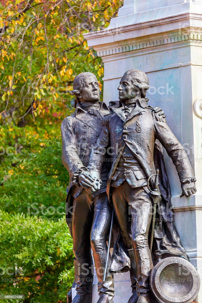 General Lafayette Statue Lafayette Park Autumn Washington DC stock photo