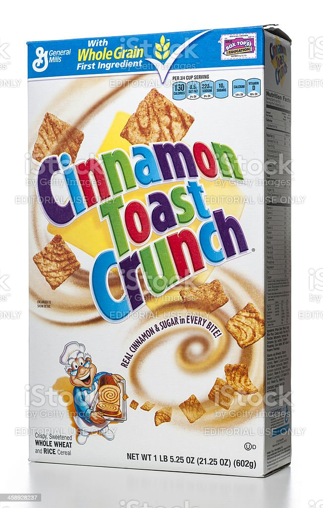 General Mills Cinnamon Toast Crunch cereal box royalty-free stock photo