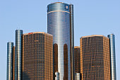 Detroit, USA - March 30, 2008: General Motors Headquarters - General Motors Headquarters in Detroit Skyline