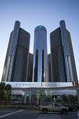 Detroit, MI, USA - October 25, 2015: A view of the General Motors (GM) headquarters corporate office building, hotel and conference center complex in downtown Detroit, Michigan.