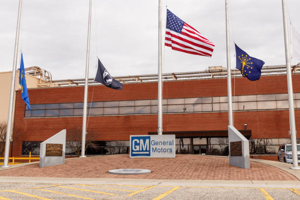General Motors Logo  and Signage with American flag at the Metal Fabricating Division. GM opened this plant in 1956 I stock photo