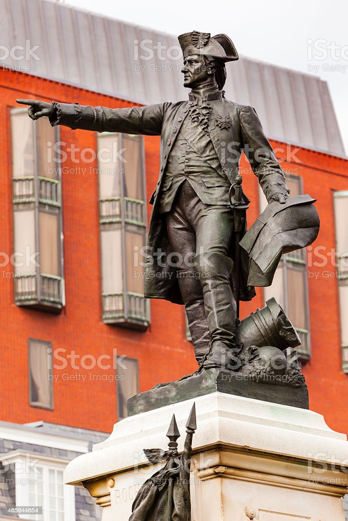 General Rochambeau Statue Lafayette Park Autumn Washington DC stock photo