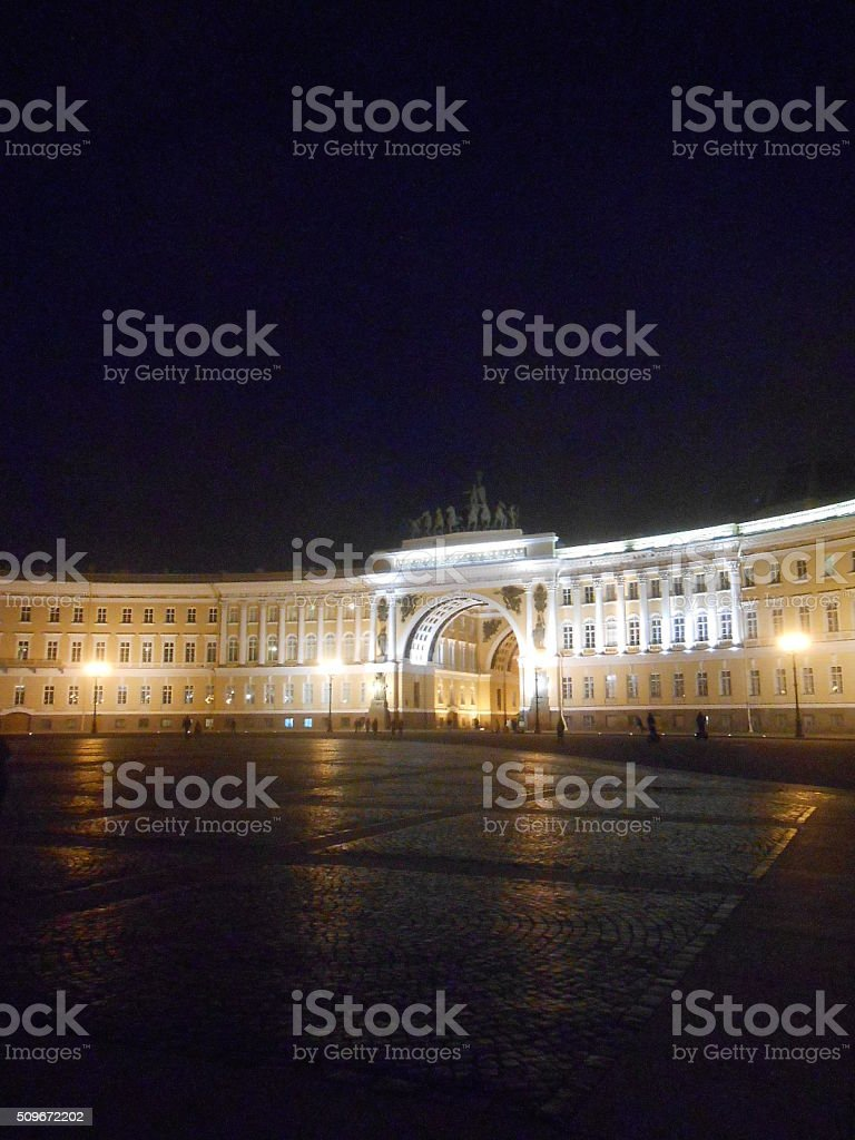 General Staff Building on Palace Square in Saint Petersburg. stock photo