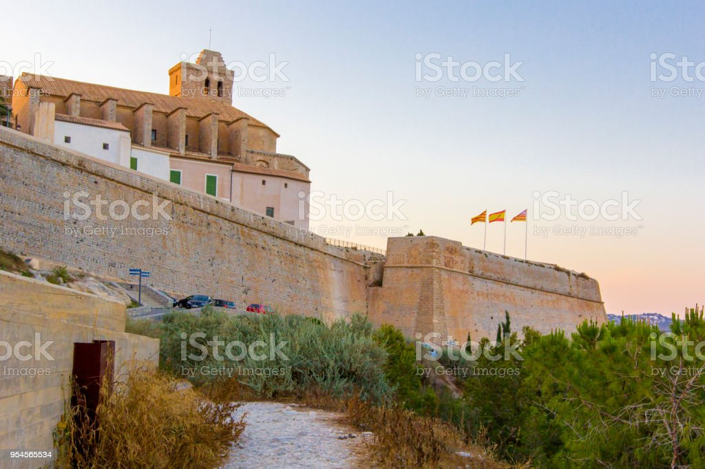 General View from medieval fortress, Ibiza, Eivissa island, Balearic Islands, Spain - foto stock