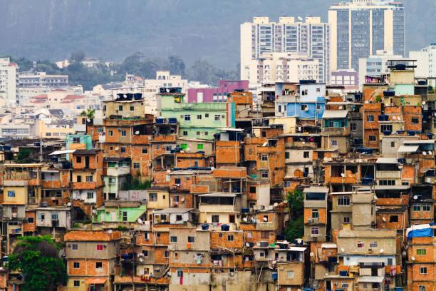 General view of a favela in the Santo Amaro hill in Rio de Janeiro, Brazil stock photo