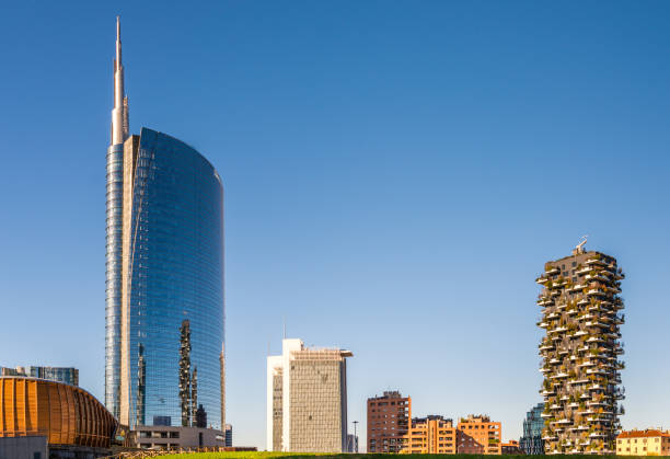 General view of buildings at Isola district in Milan, Lombardy, Italy stock photo