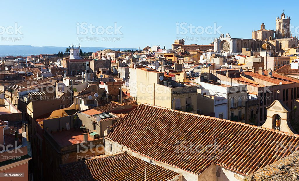 General view of  Catalan city with Cathedral. Tarragona stock photo