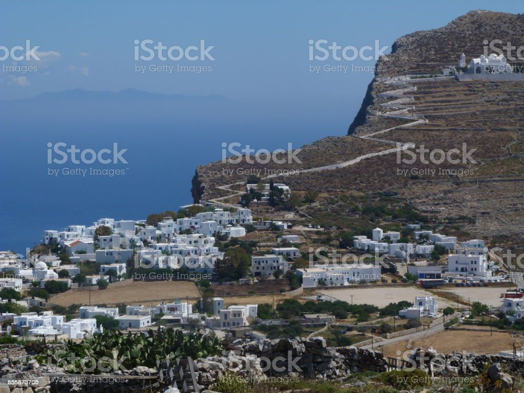 General view of Chora, Folegandros, Greece stock photo