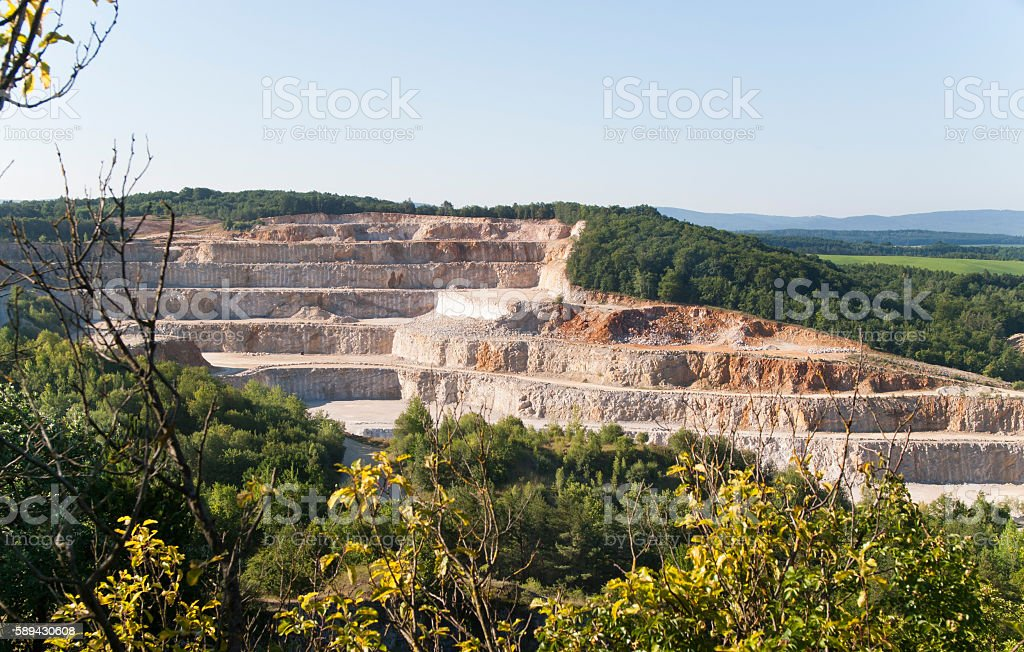 General view of limestone stonepit from Koneprusy caves, Czech Republic stock photo