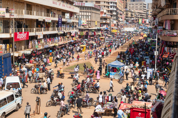 General view of one of the central street in Kampala, Uganda. stock photo