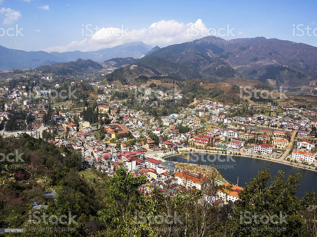 General View of Sapa Town, Lao Cai District, Vietnam stock photo