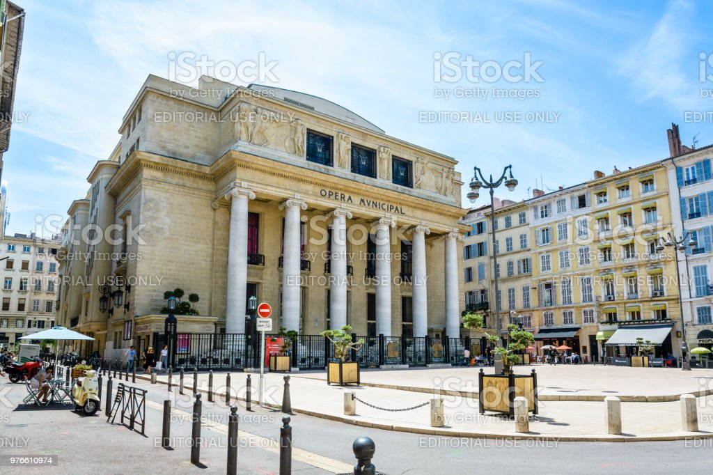 General view of the municipal opera of Marseille, a theater of neoclassical and Art Deco style. stock photo