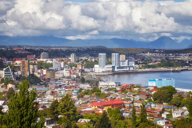General view of the Puerto Montt port city, Chile stock photo