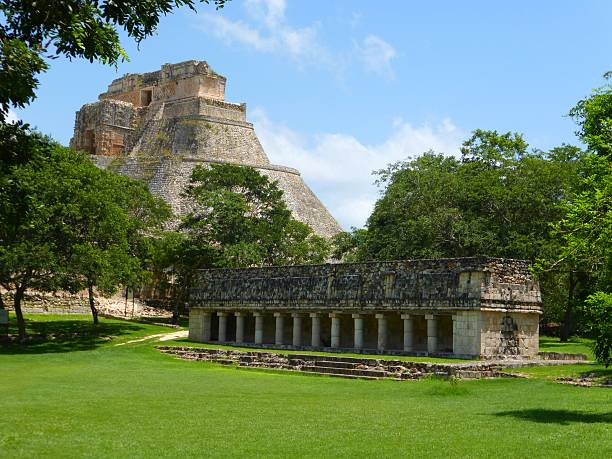 general view of uxmal in mexico - uxmal stock photos and pictures