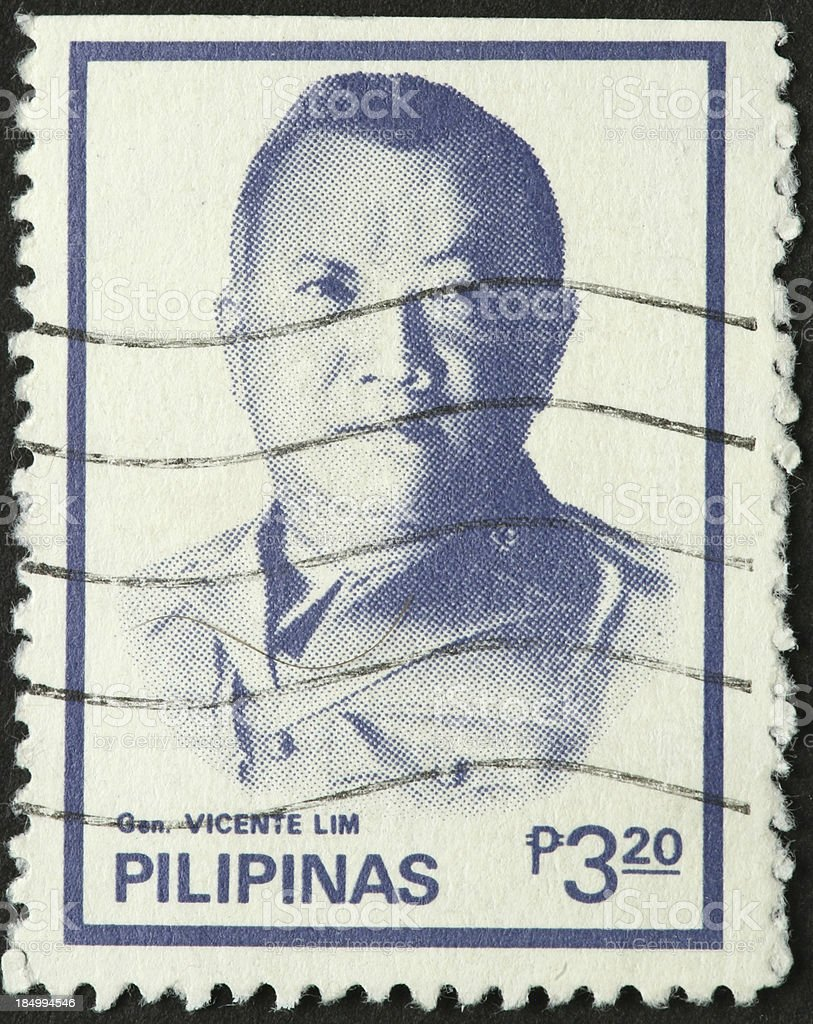 General Vincente Lim on a Philippines postage stamp royalty-free stock photo