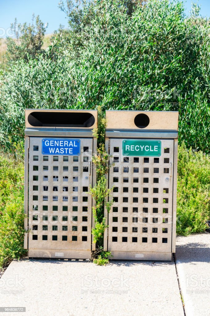 General waste and recyling rubbish bins in Australia royalty-free stock photo