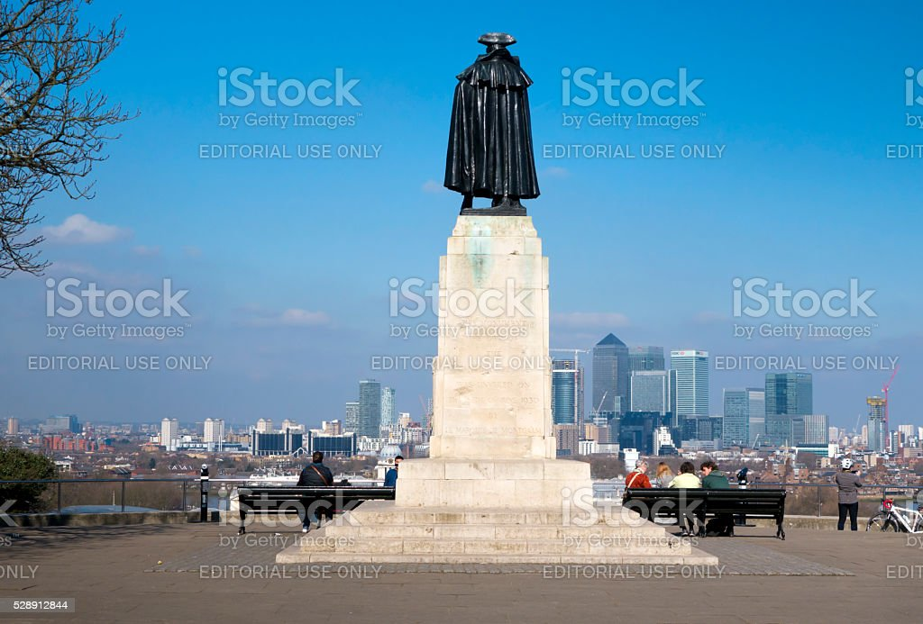 General Wolfe at Greenwich overlooking Canary Wharf stock photo
