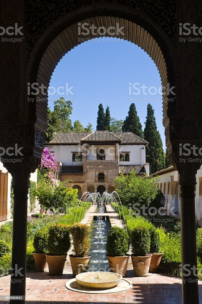 Generalife Garden in Alhambra Palace stock photo