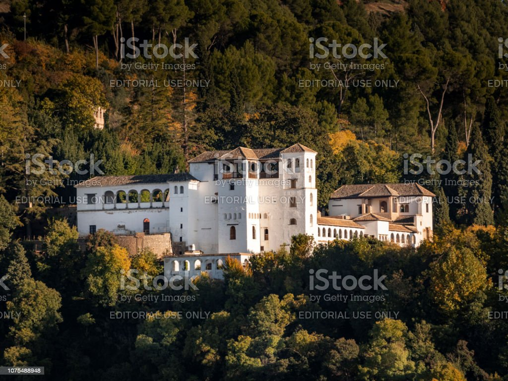 Generalife gardens building part of La Alhambra complex in Granada Spain stock photo