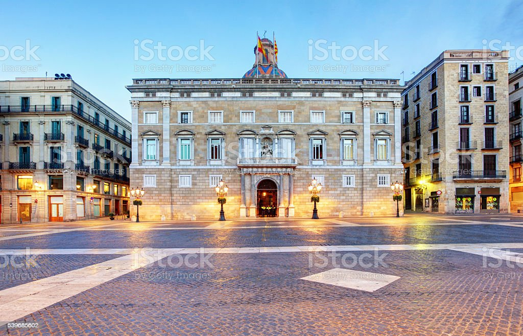 Generalitat of Catalonia Palace in Barcelona, Sant Jaume square stock photo